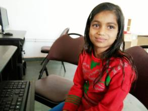 Khushboo from village is happy at computer class