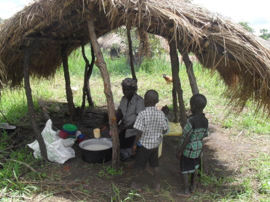 Children receiving porridge