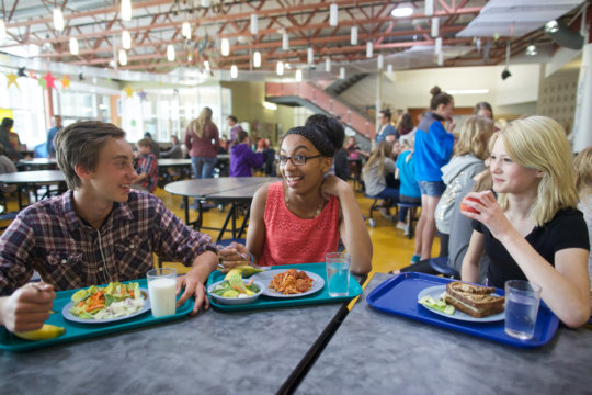 High School Students Eating Lunch