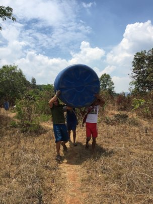 First water catchment container preparations