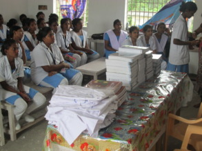 Uniforms and books for distributing