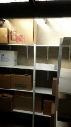 Shelving inside the storeroom