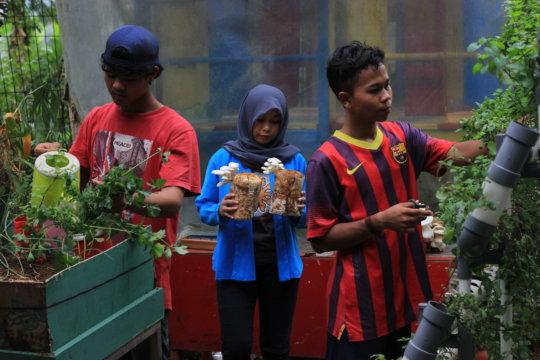 Gardening team tend their garden
