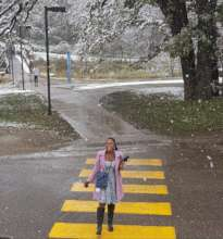 Nothando's 1st Snow at Carleton College, Minnesota