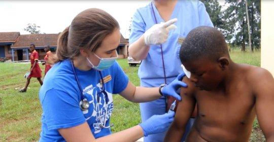 Dr Hunter removing a putsi fly larvae