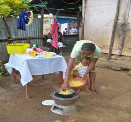 Monday preparing food for sale