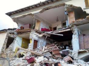 A family home destroyed by the earthquake