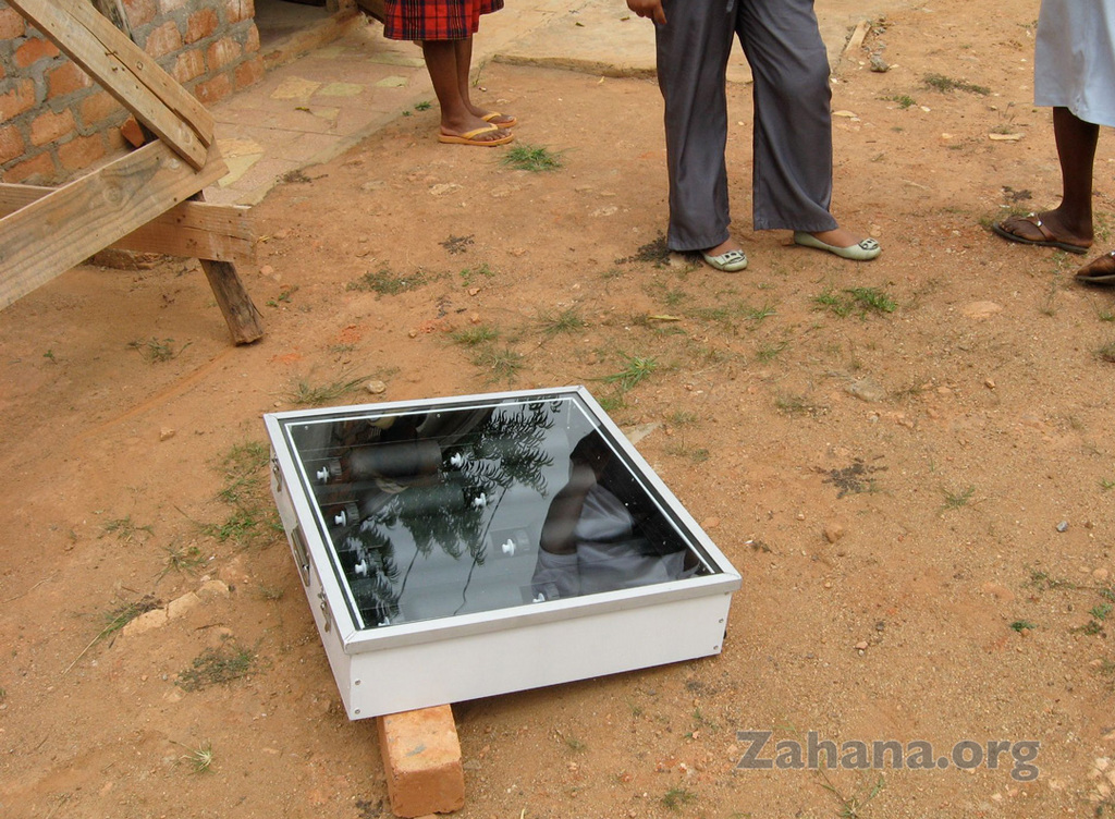 The solar water pasteurizer in action