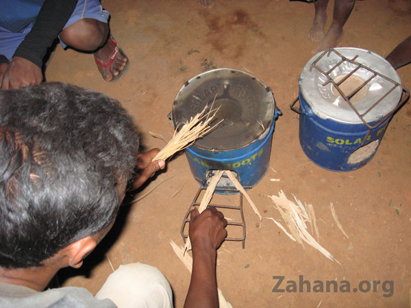 Loading the new rocket cookstove