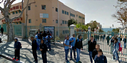 Students outside Municipal School #12 in Jaffa