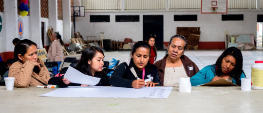 Otomi leaders at workshop on why women & democracy