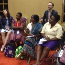 Mildred from Zimbabwe participating in discussion
