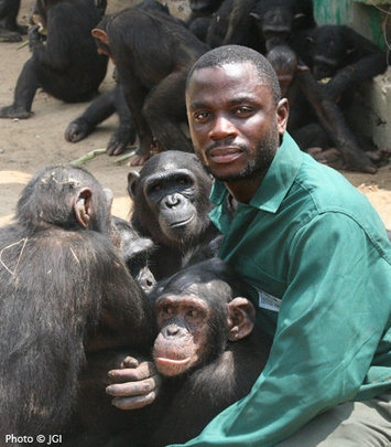 Keeper Willy with Group 4 Chimpanzees