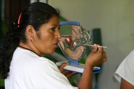 Nurse Rosie explains screening procedure