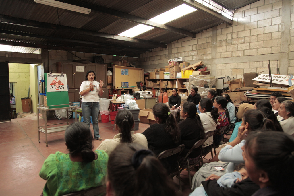 Paty gives an educational talk on cervical cancer