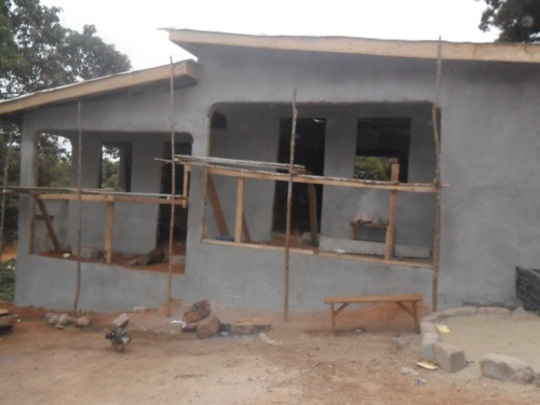Plastering and roofing of building