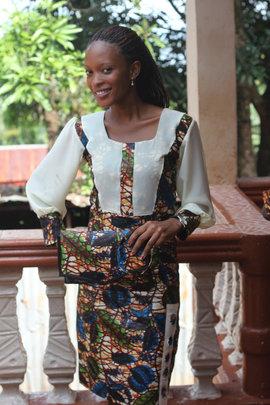 Modeling Dress with Matching Handbag