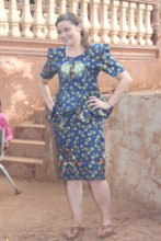 Cecelia showing her African dress