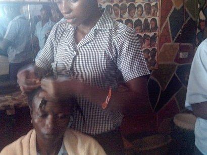 Hair dressing trainees