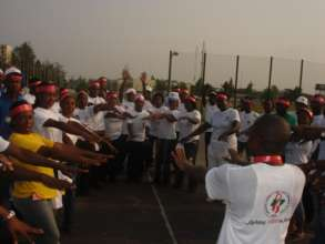 Exercise session during the world AIDS day
