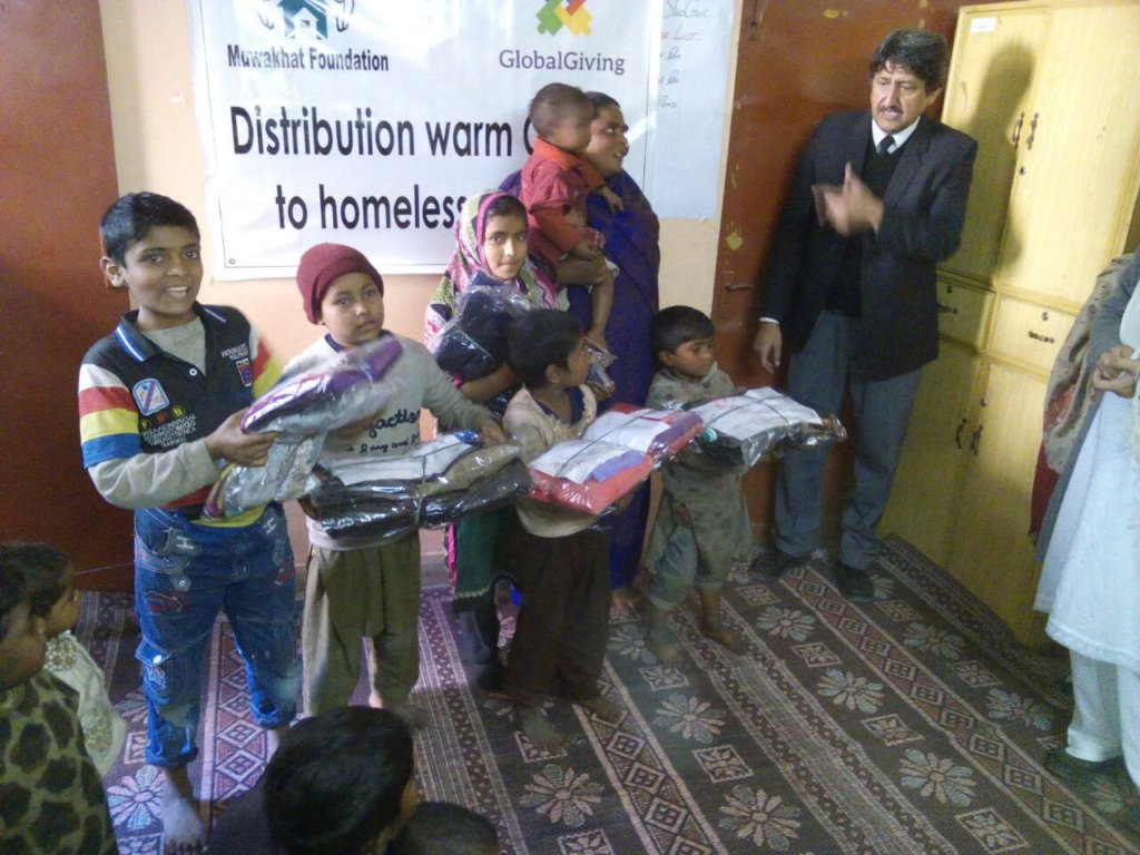 children received package of new warm clothes