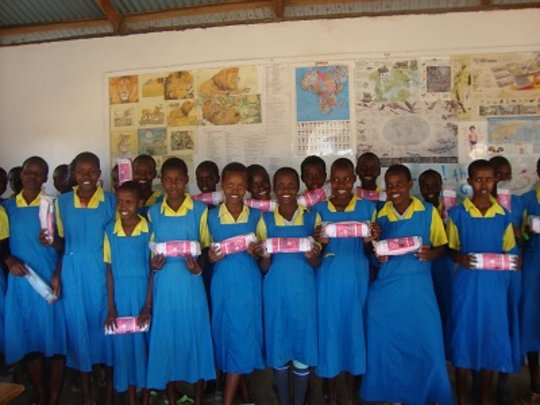 School girls with their re-usable sanitary towels