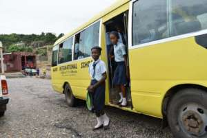 Girls arrive at the site for the excursion.