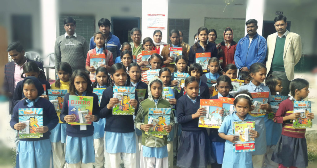 Distributed study material to Needy Girl child