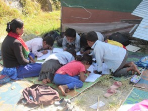Children studying outside