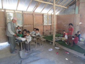Students in temporary classroom