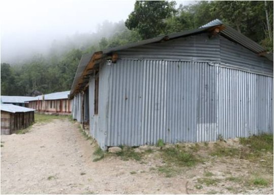 Temporary classroom built after the earthquake