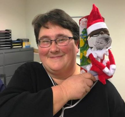 Edythe with her elf - Ms. Lynnette!
