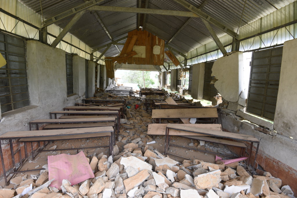 damaged classroom by Nepal earthquake