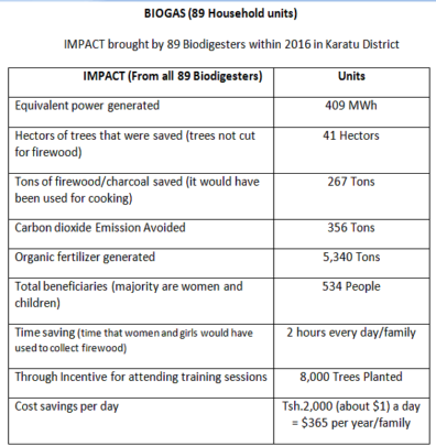 IMPACT of 89 Biodigesters built by TAHUDE/Gongali