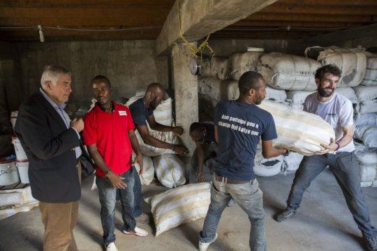 Hygiene kits are loaded on La Gonave