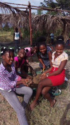 St. Paul's students working together in the garden
