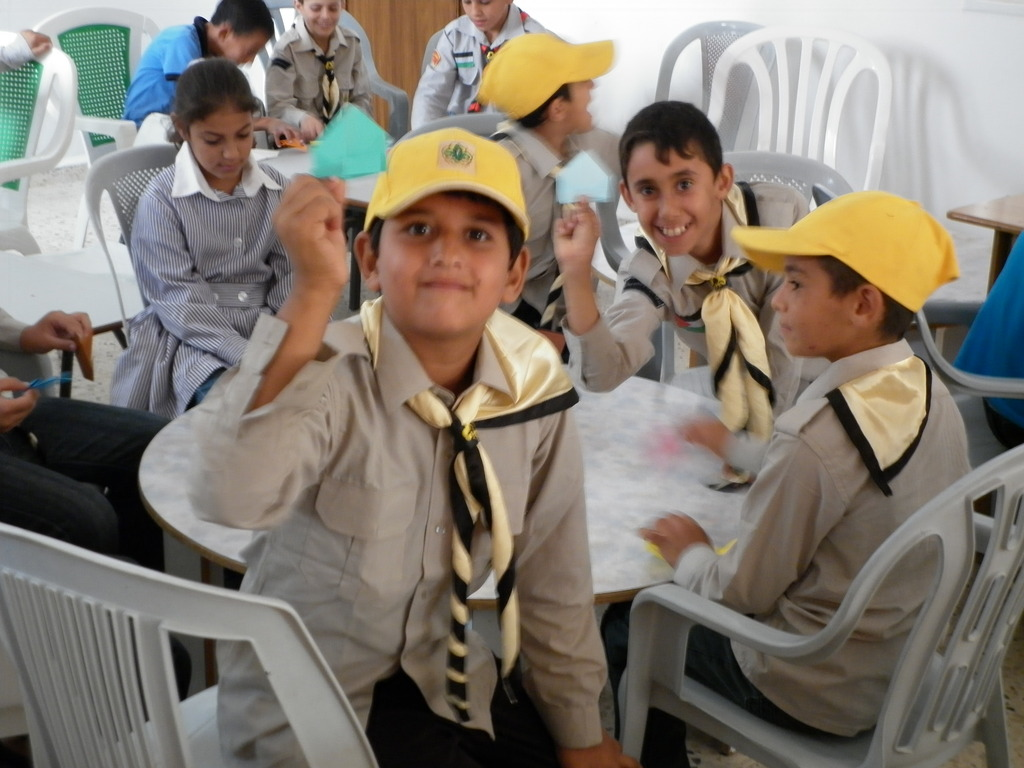 Al Aqaba schoolchildren with their origami