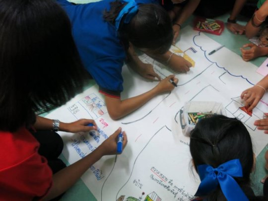 Girls participating in workshop acitivty