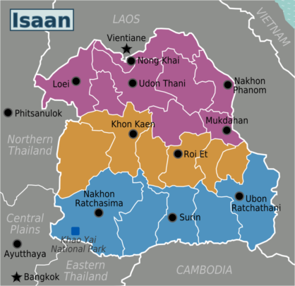 Provinces in Thailand's 'Isaan' region.