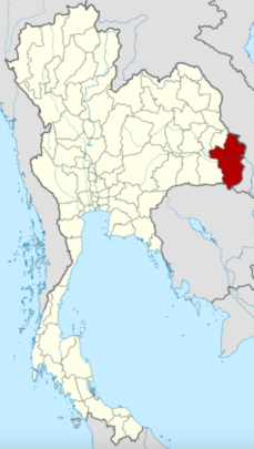 Map of Ubon Ratchathani province, Thailand