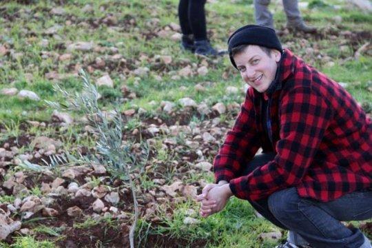 Planting trees in Khirbet Twayel