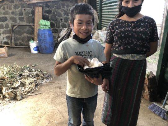 Returning the egg shells for composting