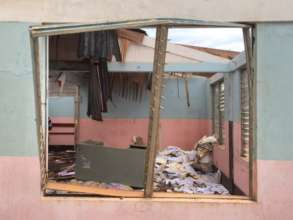 A UNFPA health center damaged after the hurricane
