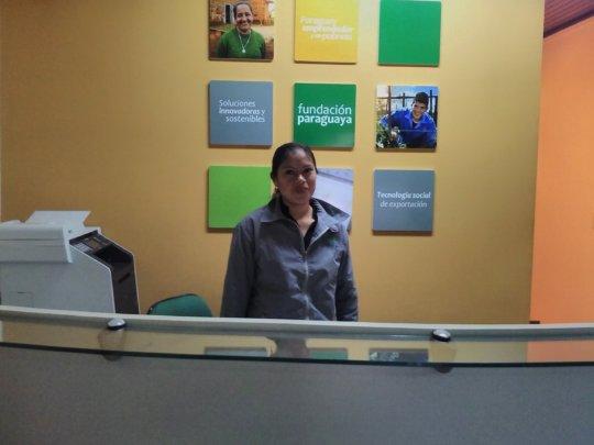 Safira at her job with Fundacion Paraguaya