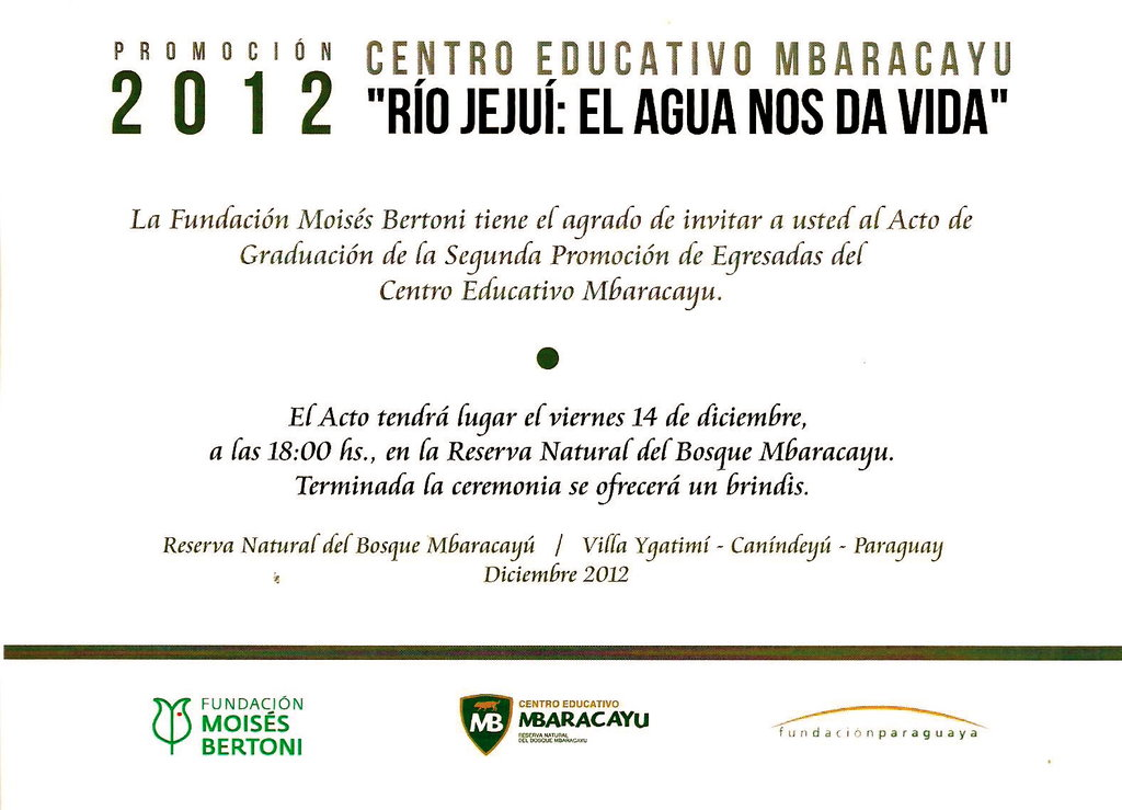 Class of 2012 Graduation Invite, Mbaracayu School