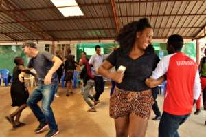 Music participants engage in a dancing activity