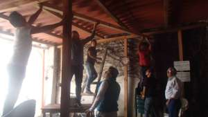 Fixing the roof in our big room, but it was FUN!