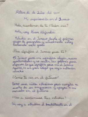 Page 1: Handwritten experience by Karen