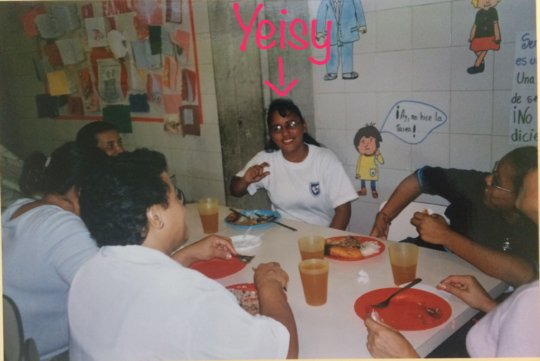 Yeisy having lunch at the school (2003)