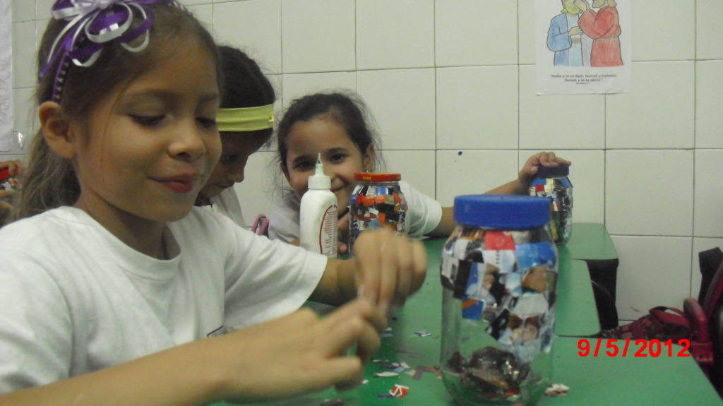 Karen: school project- waste material - age: 7yr.